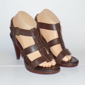 Boden Brown Leather Heeled Sandals 9